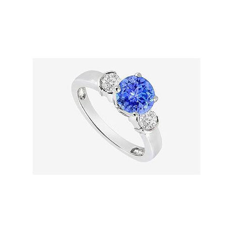 Engagement Ring Tanzanite and Cubic Zirconia in 14K White Gold 1.20 Carat TGW
