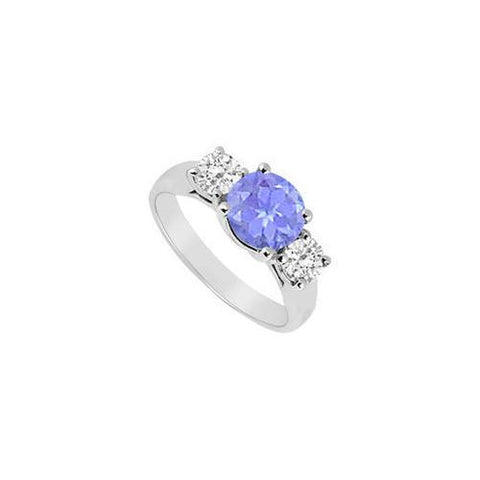 Created Tanzanite and Cubic Zirconia Three Stone Ring 10K White Gold 2.50 CT TGW