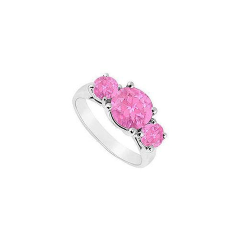 10K White Gold Created Pink Sapphire Three Stone Ring 2.50 CT TGW