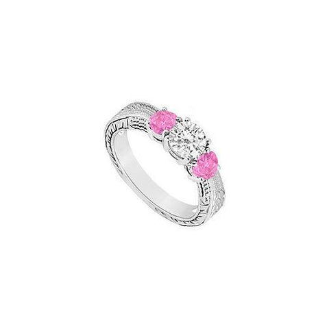 10K White Gold Created Pink Sapphire and Cubic Zirconia Three Stone Ring 0.50 CT TGW