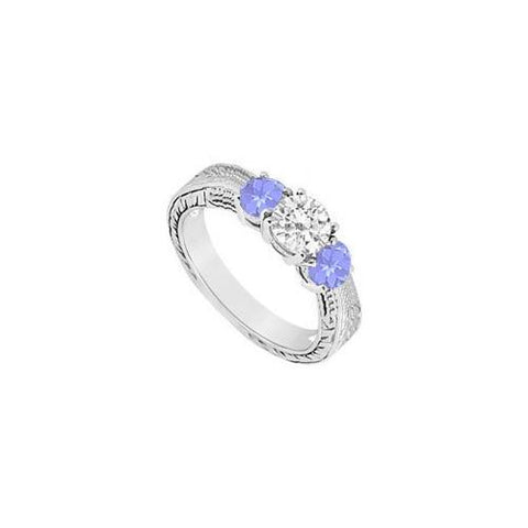 10K White Gold Created Tanzanite and Cubic Zirconia Three Stone Ring 0.50 CT TGW