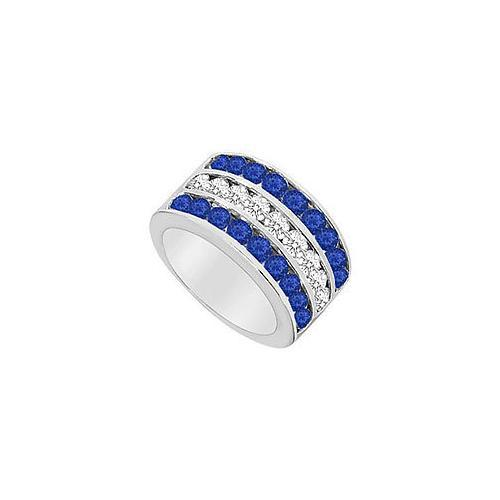 Diffuse Sapphire and Cubic Zirconia Row Ring .925 Sterling Silver 2.50 CT TGW