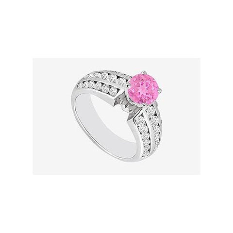 Engagement Ring 1 ct. Pink Sapphire and side Cubic Zirconia in 14K White Gold 1.60 Carat TGW