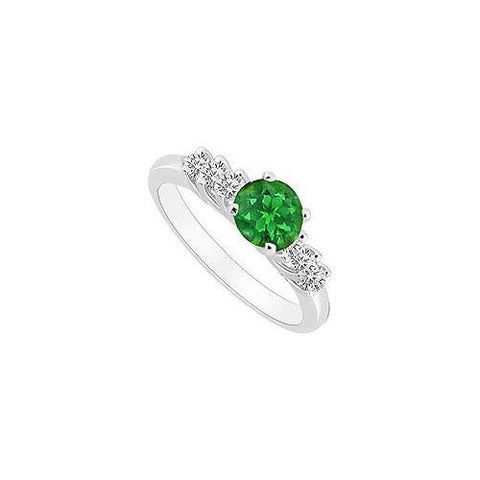 10K White Gold Frosted Emerald and Cubic Zirconia Engagement Ring 0.50 CT TGW