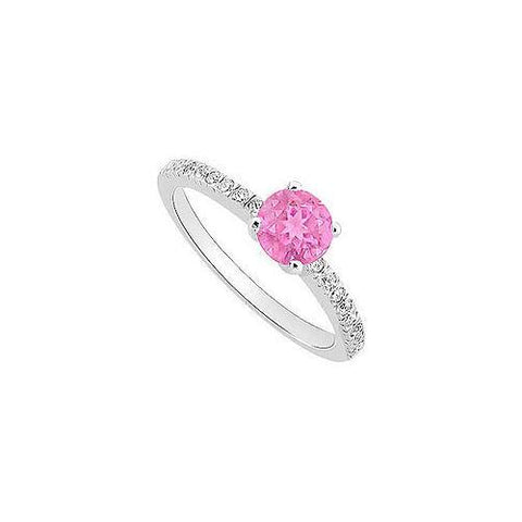 Created Pink Sapphire and Cubic Zirconia Engagement Ring 10K White Gold 0.50 CT TGW