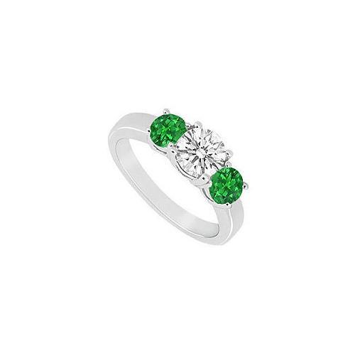 10K White Gold Frosted Emerald and Cubic Zirconia Three Stone Ring 1.00 CT TGW