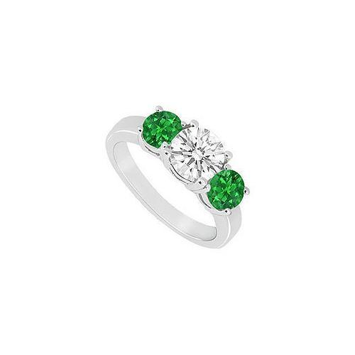 Frosted Emerald and Cubic Zirconia Three Stone Ring 10K White Gold 1.50 CT TGW