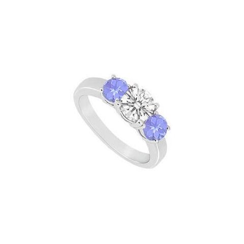 Created Tanzanite and Cubic Zirconia Three Stone Ring 10K White Gold 1.50 CT TGW