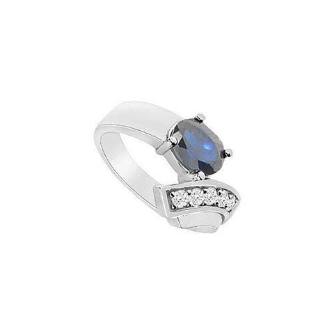 Diffuse Sapphire and Cubic Zirconia Ring : 10K White Gold - 1.75 CT TGW