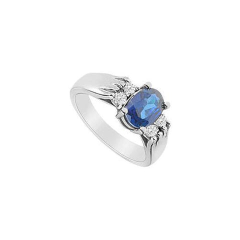 Diffuse Sapphire and Cubic Zirconia Ring : 10K White Gold - 2.75 CT TGW