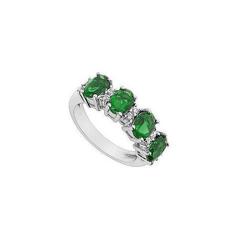 Frosted Emerald and Cubic Zirconia Ring : 10K White Gold - 2.25 CT TGW