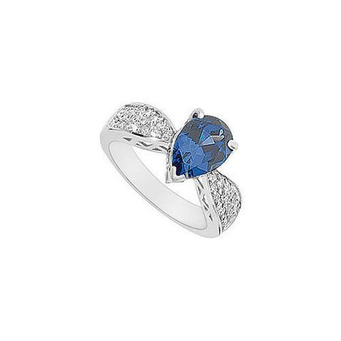 Diffuse Sapphire and Cubic Zirconia Ring : 10K White Gold - 2.50 CT TGW