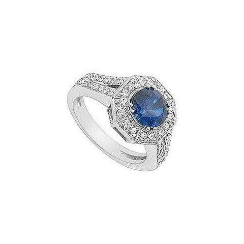 Diffuse Sapphire and Cubic Zirconia Ring : 10K White Gold - 2.66 CT TGW