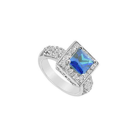 Diffuse Sapphire and Cubic Zirconia Ring : 10K White Gold - 2.00 CT TGW