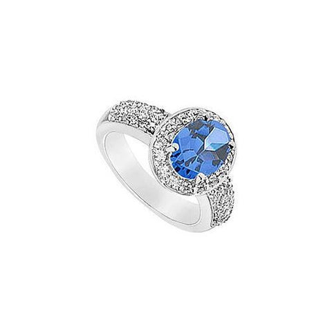 Diffuse Sapphire and Cubic Zirconia Ring : 10K White Gold - 3.25 CT TGW