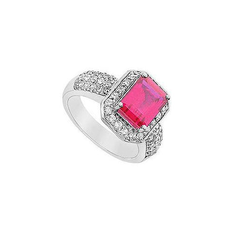 GF Bangkok Ruby and Cubic Zirconia Ring : 10K White Gold - 3.25 CT TGW