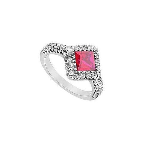 GF Bangkok Ruby and Cubic Zirconia Ring : 10K White Gold - 1.50 CT TGW