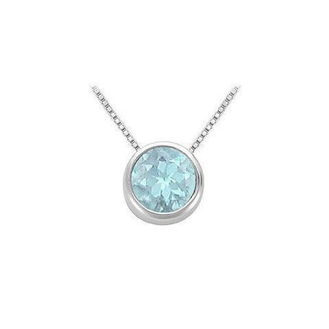 Created Aquamarine Bezel-Set Solitaire Pendant : .925 Sterling Silver - 1.00 CT TGW