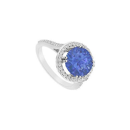 Diffuse Sapphire and Diamond Ring : 14K White Gold - 1.25 CT TGW
