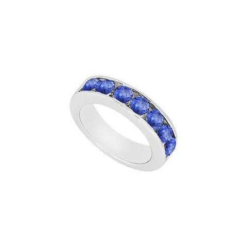 Sapphire Wedding Band : 14K White Gold - 0.50 CT TGW