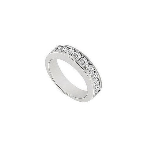 Diamond Channel Set Half Eternity Wedding Band 14K White Gold 0.25 CT Diamonds