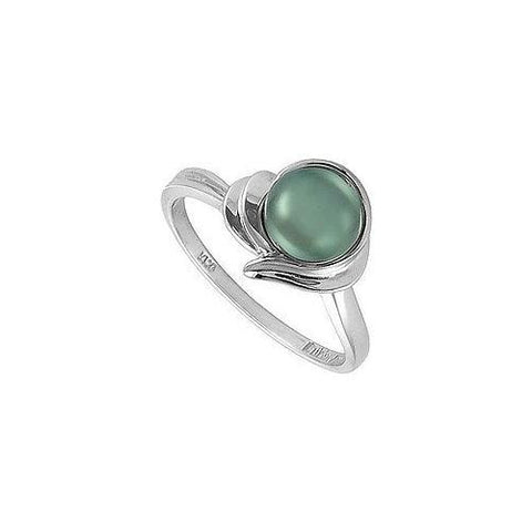Cultured Black Pearl Ring : 14K White Gold