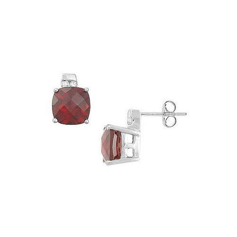 Garnet and Diamond Earrings : 14K White Gold - 3.00 CT TGW