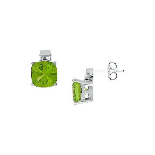 Peridot and Diamond Earrings : 14K White Gold - 3.00 CT TGW