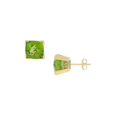 Peridot Earrings : 14K yellow Gold - 2.75 CT TGW