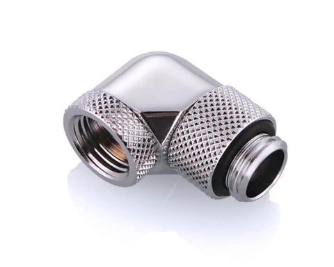 Bykski G1/4 Male to Female 90 Degree Dual Rotary Elbow Fitting - Silver (B-DTSO-RD90)