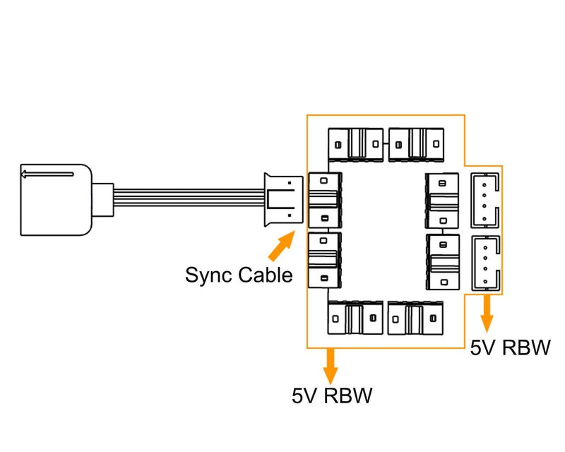 Bykski 1 to 8 5v Addressable RGB (RBW) Synchronization / Expansion Bus (B-TR-1T08)