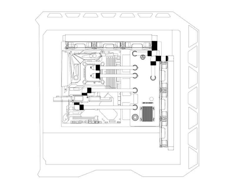 Bykski Distro Plate For MasterCase H500P - PMMA w/ 5v Addressable RGB (RBW) (RGV-CM-H500P-P)
