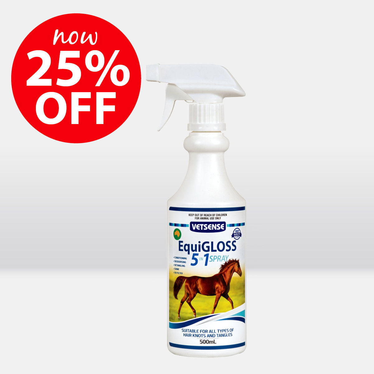 Vetsense EquiGLOSS 5-in-1 Detangling Spray 500mL ON SALE NOW