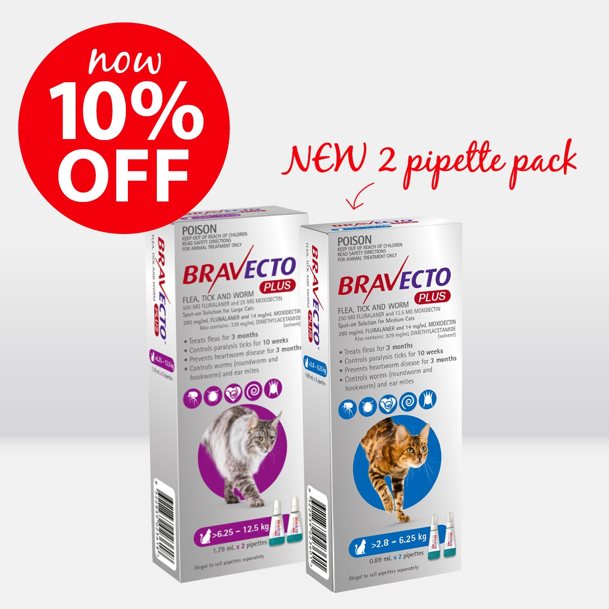 Bravecto Plus Spot-On for Cats 2 pack ON SALE