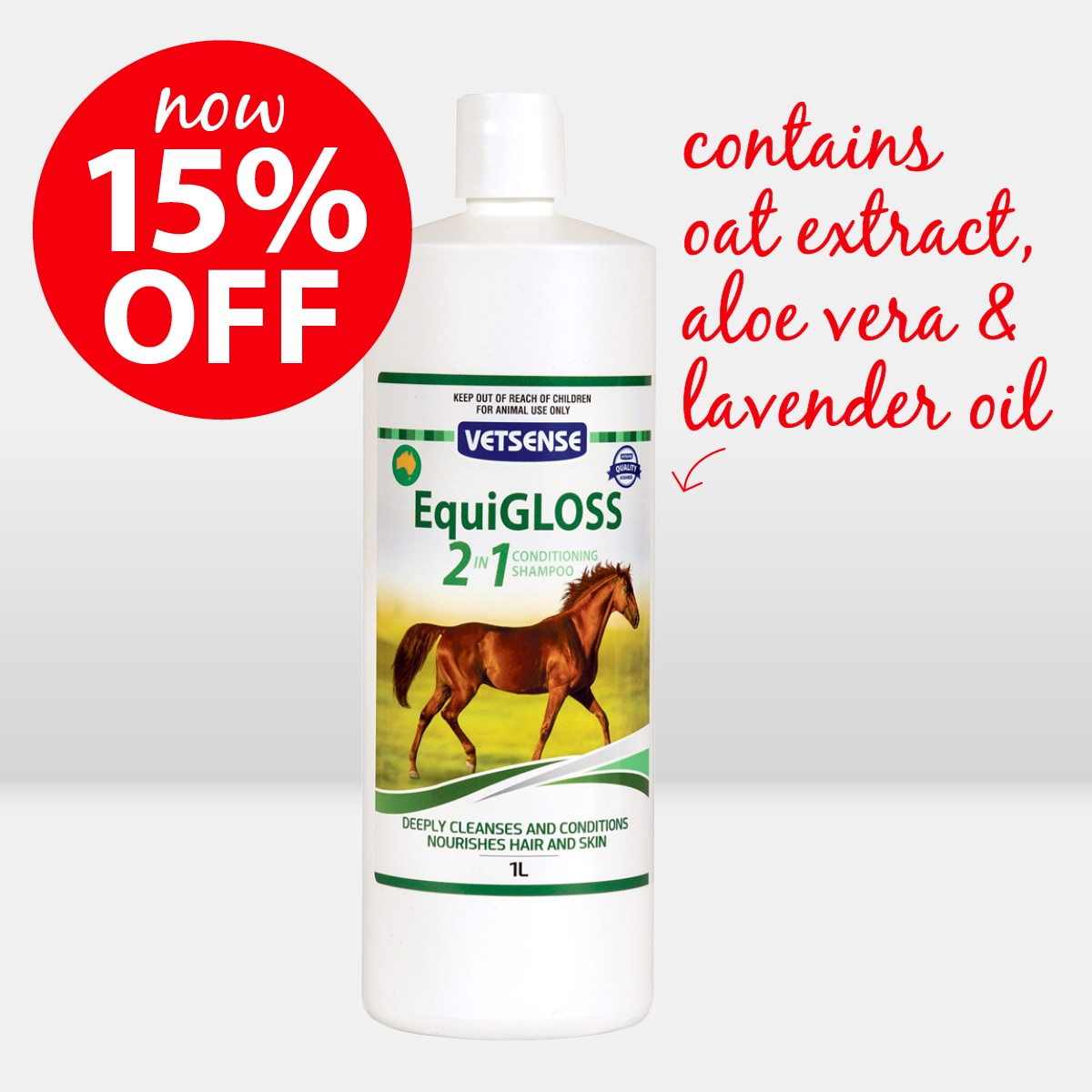 Vetsense Equigloss 2in1 Conditioning Shampoo ON SALE NOW