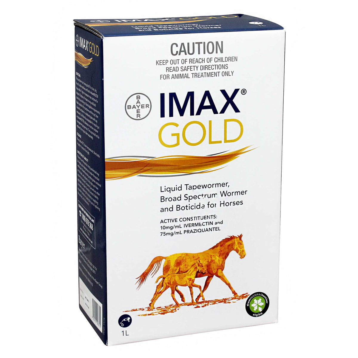 Imax Gold Broad Spectrum Wormer & Boticide for Horses 1L Studpack
