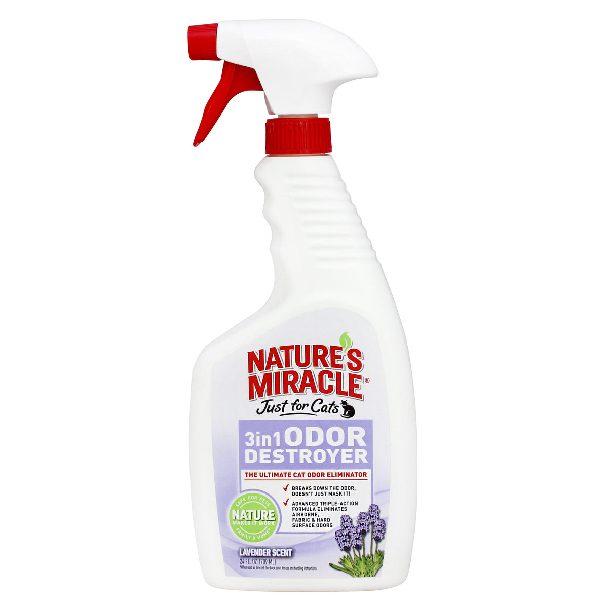 Nature's Miracle Just for Cats 3 in 1 Odour Destroyer 709mL - Lavender Scent