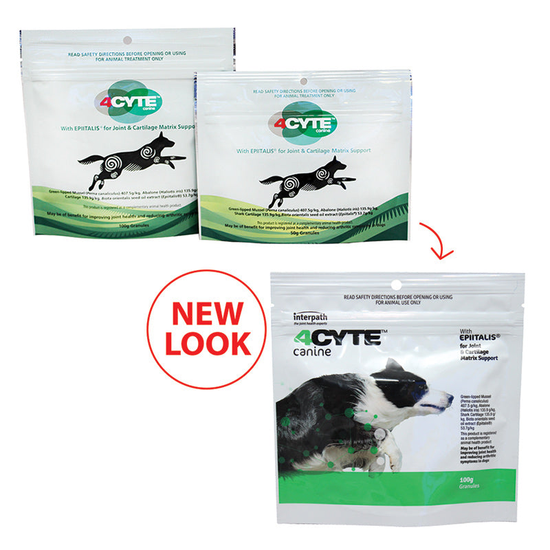 4 CYTE Canine Joint Supplement for Dogs in 100g and 50g Pack Sizes