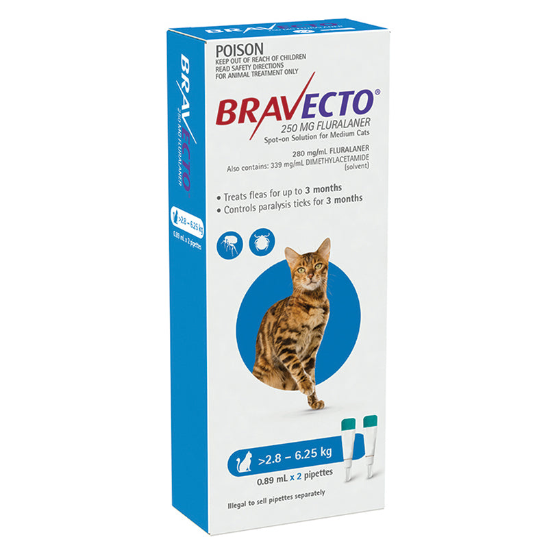 Bravecto Spot-on for Medium Cats 2.8kg-6.25kg (Blue) - 3 Month Flea and Tick Protection