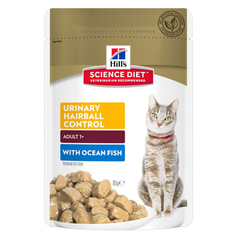 Hill's Science Diet Feline Adult Urinary Hairball Control Ocean Fish 85g x 12