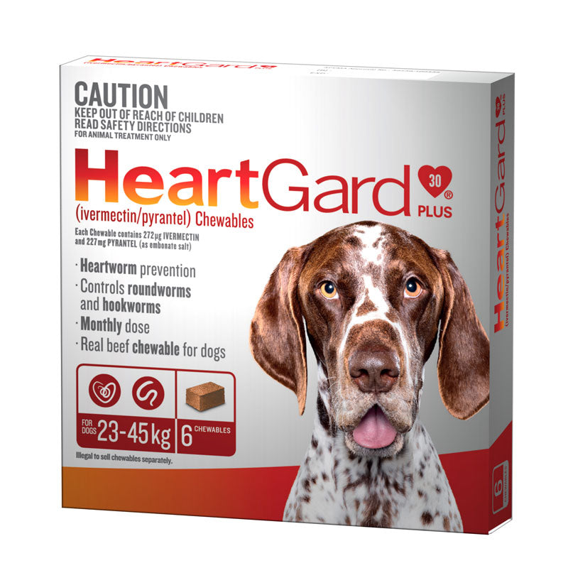 HeartGard Plus Chewables Brown - for Dogs 23-45kg