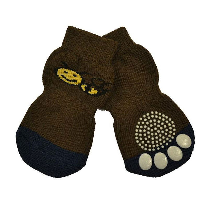 Non-Slip Pet Socks - Brown Bee (Set of 4)
