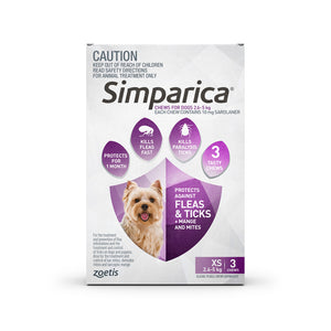 Simparica for Puppies/Small Dogs 2.6 to 5kg  - 3 pack