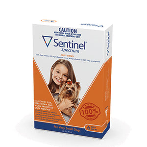Sentinel   Spectrum Chews. Orange for Very Small Dogs 0-4kg