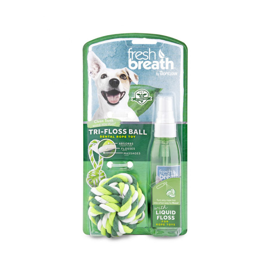Tropiclean TriFloss Ball + Liquid Floss
