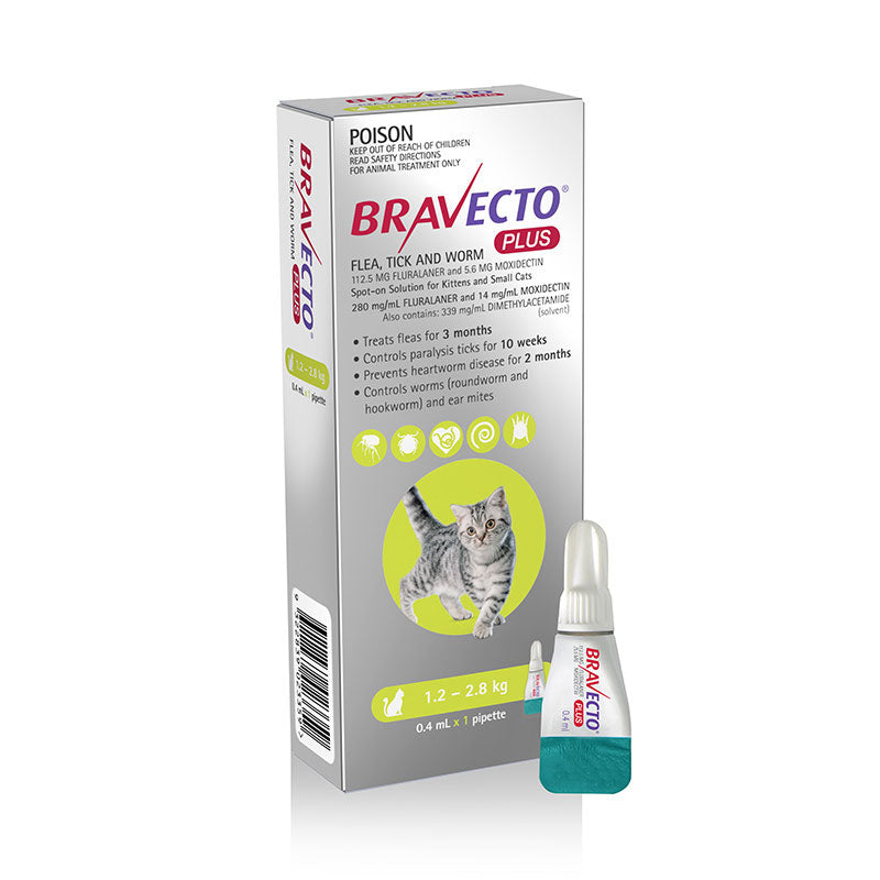Bravecto Plus Spot-on for Small Cats (Green)