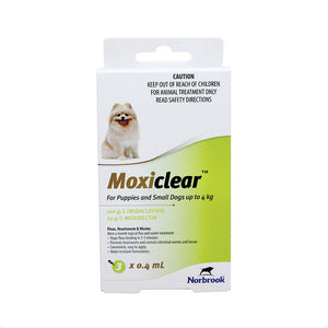 Moxiclear for Puppies & Small Dogs up to 4kg - 3 Pack