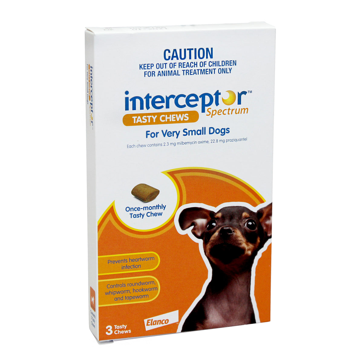 INTERCEPTOR  Spectrum Chews Orange. VSmall Dogs Up to 4kg