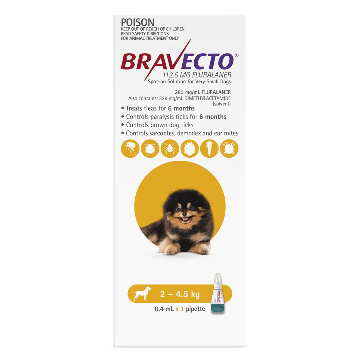 Bravecto Spot-on for Dogs 2kg-4.5kg (Yellow) - 6 Month Flea and Tick Protection