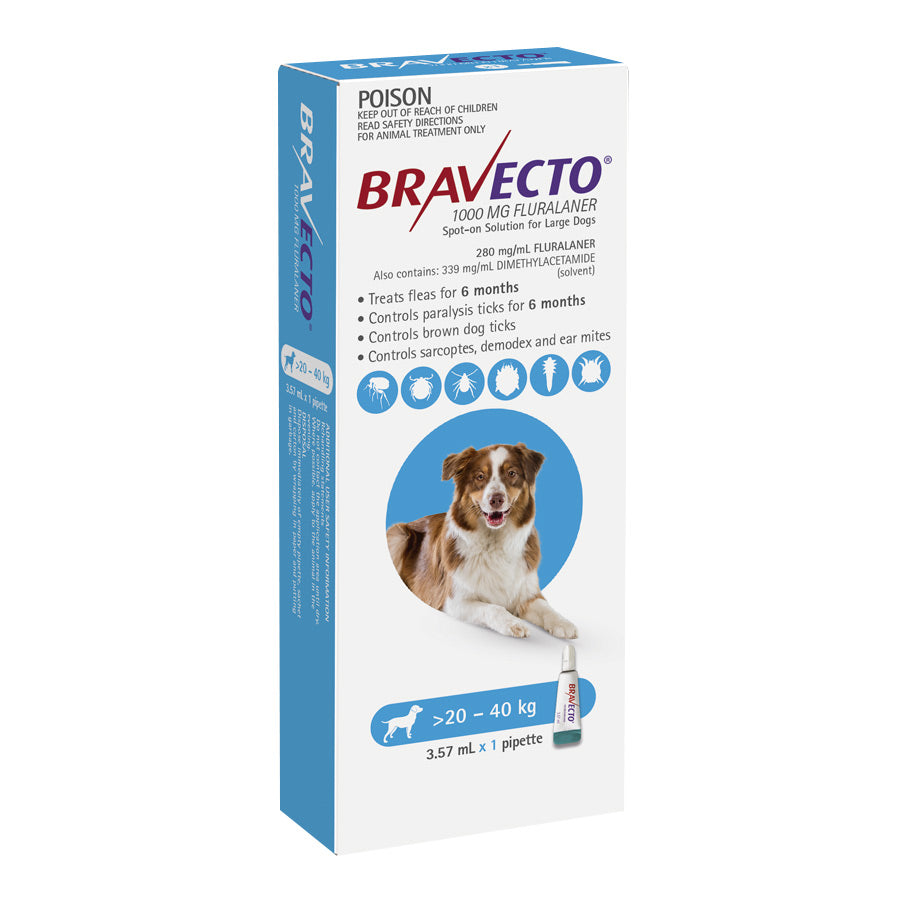 Bravecto Spot-on for Dogs 20kg-40kg (Blue) - 6 Month Flea and Tick Protection